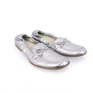 Salvatore Ferragamo Silver Elastic Ballet Flats